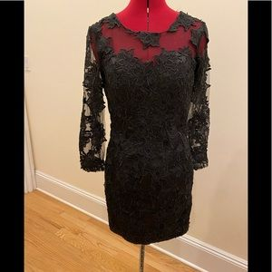 European mini black lace floral dress